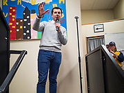 28 DECEMBER 2019 - DES MOINES, IOWA: Mayor PETE BUTTIGIEG, speaks during a meet and greet with Buttigieg in Des Moines. Buttigieg talked to a crowd of about 75 people at Urban Dreams, an African-American community empowerment center in Des Moines. It was a part of Buttigieg's continuing outreach to African-American voters. Buttigieg, the mayor of South Bend, Indiana, is running to be the Democratic nominee for President in the 2020 election. Iowa traditionally holds the first presidential selection event of the 2020 election cycle. The Iowa Caucuses are on Feb. 3, 2020.           PHOTO BY JACK KURTZ