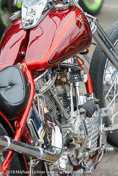 Les Covington's custom Panhead in the Wrench Magazine old school bike show at the Easyriders Saloon during the annual Sturgis Black Hills Motorcycle Rally. SD, USA. August 6, 2014.  Photography ©2014 Michael Lichter.