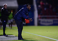 Jimmy Floyd Hasselbaink, the manager of Northampton Town gives instructions from the touchline. . EFL Skybet Football League one match, Northampton Town v Portsmouth at the Sixfields Stadium in Northampton on Tuesday 12th September 2017. <br /> pic by Bradley Collyer, Andrew Orchard sports photography.