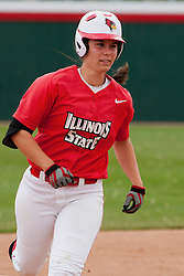 15 April 2012:  Lizzie Andrews trots around the bases after knocking the ball over the outfield fence during an NCAA women's softball game between the Drake Bulldogs and the Illinois State Redbirds on Marian Kneer Field in Normal IL