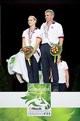Eccles Podium - Individuals Women Final Vaulting - Alltech FEI World Equestrian Games™ 2014 - Normandy, France.<br /> © Hippo Foto Team - Jon Stroud<br /> 05/09/2014