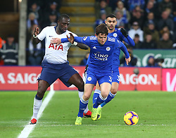 December 8, 2018 - Leicester, England, United Kingdom - Leicester, December 08, 2018.Leicester City's Ben Chilwell holds of Tottenham Hotspur's Moussa Sissoko.during the English Premier League match between Leicester City and Tottenham Hotspur at the King Power Stadium in Leicester, Britain, 8 December 2018  (Credit Image: © Action Foto Sport/NurPhoto via ZUMA Press)
