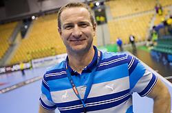 Vladan Matic, head coach of Celje after the handball match between RK Celje Pivovarna Lasko and IK Savehof (SWE) in 3rd Round of Group B of EHF Champions League 2012/13 on October 13, 2012 in Arena Zlatorog, Celje, Slovenia. (Photo By Vid Ponikvar / Sportida)
