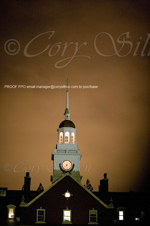 St. Georges School steeple at night.