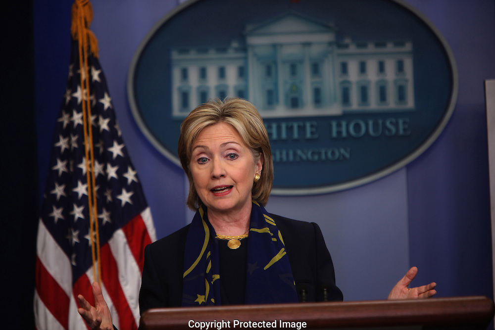 Secretary of State Hillary Rodham Clinton briefs press on meeting with the leaders of Afghanistan and Pakistan on May 6, 2009.  Photograph by Dennis Brack