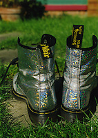 Silver hologram Doc Martin boots