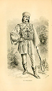 Male Wallachian in traditional clothes, from Wallachia, Romania. wallachian peasant man male embroidered vest hat riding whip stand full length posed outdoor. Engraving on wood From The human race by Figuier, Louis, (1819-1894) Publication in 1872 Publisher: New York, Appleton