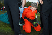 Arrests are made as Vauxhall gardens is cleared of Extinction Rebellion supporters on the 15th of October 2019 following a controversial issue of a Section 14 notice, declaring it illegal for them to protest in London, United Kingdom. <br /> <br /> Extinction Rebellion, who are seeking a judicial review of the ban, has pledged to cause two weeks of disruption in London and more than 60 cities around the world in an 'October Rebellion'. It is demanding that more be done to tackle climate change and force politicians and the media 'tell the truth' about global warming.