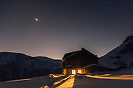 Tourist hut in Balkan Mountains at winter night