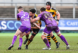 Newport's Rhys Cresswell is tackled by Ebbw Vale's Srdan Majkic - Mandatory by-line: Craig Thomas/Replay images - 04/02/2018 - RUGBY - Rodney Parade - Newport, Wales - Newport v Ebbw Vale - Principality Premiership