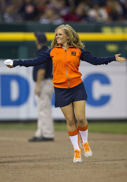June 04, 2013:  Detroit Energy Squad member performs during MLB game action between the Tampa Bay Rays and the Detroit Tigers at Comerica Park in Detroit, Michigan.  The Tigers defeated the Rays 10-1.