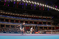 John McEnroe and Tim Henman during the Champions Tennis match at the Royal Albert Hall, London, United Kingdom on 6 December 2018. Picture by Ian Stephen.