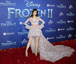 Sofia Carson at the World premiere of Disney's 'Frozen 2' held at the Dolby Theatre in Hollywood, USA on November 7, 2019.