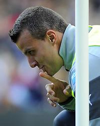 Newcastle United's Steven Taylor shares a joke with villa fans - Photo mandatory by-line: Joe Meredith/JMP - Mobile: 07966 386802 23/08/2014 - SPORT - FOOTBALL - Birmingham - Villa Park - Aston Villa v Newcastle United - Barclays Premier League