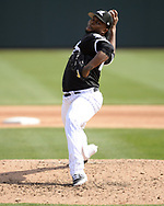 GLENDALE, ARIZONA - MARCH 04:  Alex Colome #48 of the Chicago White Sox pitches against the Los Angeles Angels on March 4, 2019 at Camelback Ranch in Glendale Arizona.  (Photo by Ron Vesely)  Subject:  Alex Colome