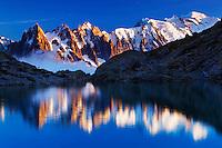 Mountain impression Lac Blanc with Aiguilles de Chamonix, Mont Blanc - Europe, France, Haute Savoie, Aiguilles Rouges, Chamonix, Lac Blanc - Sunset