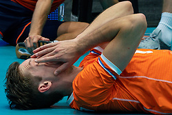 11-08-2019 NED: FIVB Tokyo Volleyball Qualification 2019 / Netherlands - USA, Rotterdam<br /> Final match pool B in hall Ahoy between Netherlands vs. United States (1-3) and Olympic ticket  for USA / Maarten van Garderen #3 of Netherlands