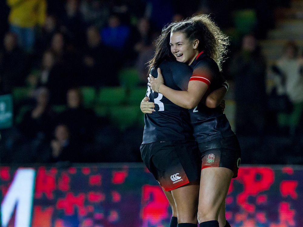Lagi Tuima celebrates with Ellie Kildunne after Ellise's try, England Women v Canada in an Autumn International match at The Stoop, Twickenham, London, England, on 21st November 2017 Final score 49-12