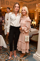 Left to right, Daisy Knatchbull and Megan hess at an afternoon tea in honour of Megan Hess hosted by Lady Violet Manners at The Lanesborough, Hyde Park Corner, London, England. 10 November 2017.