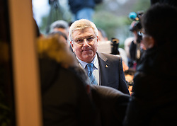 LAUSANNE, Jan. 20, 2018  International Olympic Committee (IOC) President Thomas Bach arrives prior to the meeting with the Olympic Committee delegations from the Democratic People's Republic of Korea(DPRK) and South Korea in Lausanne, Switzerland, on Jan. 20, 2018. (Credit Image: © Xu Jinquan/Xinhua via ZUMA Wire)