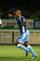 Photo: Rich Eaton.<br /> <br /> Hereford United v Wycombe Wanderers. Coca Cola League 2. 12/09/2006. Jermaine Easter of Wycombe celebrates scoring his second goal of the game to secure a 2-1 victory at Hereford