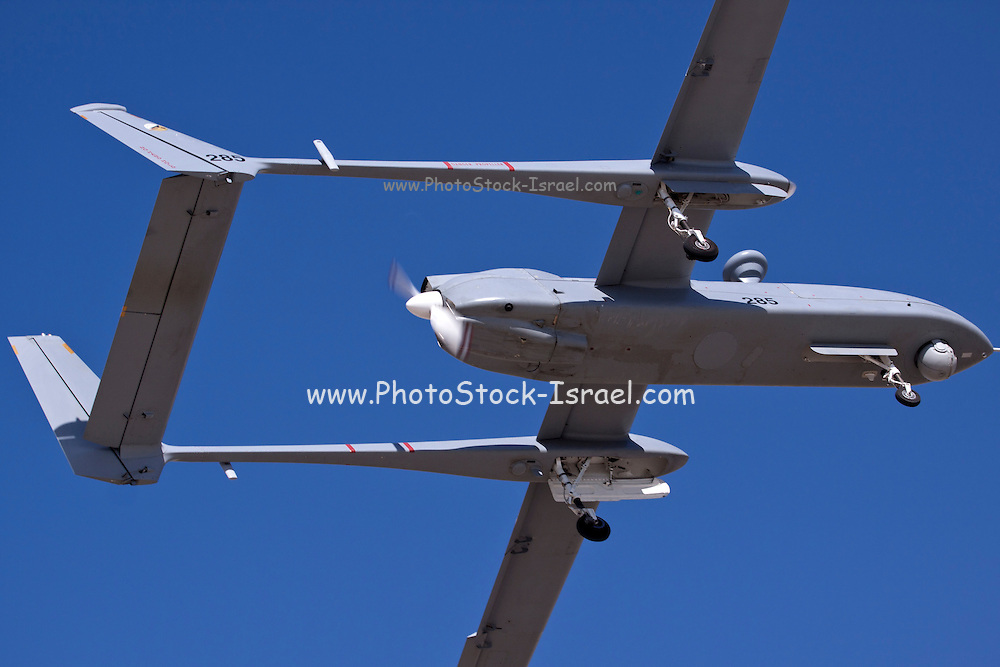 Israeli Air force (IAF) IAI Heron (IAI Shoval) an Unmanned Aerial Vehicle (UAV) developed by the Malat division of Israel Aerospace Industries.