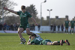 March 2, 2019 - Galway, Ireland - Tiernan O'Halloran of Connacht helps Kyle Godwin of Connacht kick a conversion during the Guinness PRO 14 match  between Connacht Rugby and Ospreys at the Sportsground in Galway, Ireland on March 2, 2019  (Credit Image: © Andrew Surma/NurPhoto via ZUMA Press)