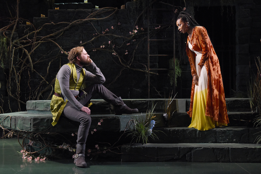"""Mara Lavitt -- Special to the Hartford Courant<br /> March 24, 2016<br /> The run-through of William Shakespeare's """"Cymbeline,"""" at the University Theatre at Yale. Christopher Geary as Cloten and Sheria Irving as Imogen."""