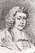 Baruch (Benedict) Spinoza (Spinosa or Despinosa) (1632-1677) Dutch philosopher born in Amsterdam into a Jewish family who had fled Roman Catholic persecution in Portugal. Expelled from the Jewish community in 1656 for heresy. Interested in optics, astronomy and theology in addition to philosophy.     From 'Histoire des Philosophes Modernes' by Alexandre Saverien (Paris, 1762).