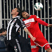 Besiktas's Filip Holosko (L) during their Turkish superleague soccer match Besiktas between MP Antalyaspor at BJK Inonu Stadium in Istanbul Turkey on Monday, 15 April 2013. Photo by Aykut AKICI/TURKPIX