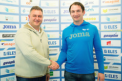 Vladimir Kevo and Primoz Kozmus during press conference when Slovenian athletes and their coaches sign contracts with Athletic federation of Slovenia for year 2016, on February 25, 2016 in AZS, Ljubljana, Slovenia. Photo by Vid Ponikvar / Sportida