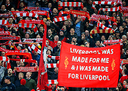 Liverpool fans hold up scarves and banners before kick off - Mandatory by-line: Matt McNulty/JMP - 24/04/2018 - FOOTBALL - Anfield - Liverpool, England - Liverpool v Roma - UEFA Champions League Semi Final, 1st Leg