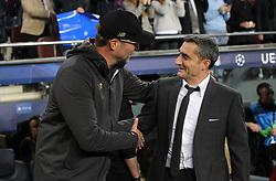 May 1, 2019 - Barcelona, Barcelona, Spain - Klopp of Liverpool and Valverde of Barcelona in action during UEFA Champions League football match, between Barcelona and Liverpool, Mayl 01th, in Camp Nou stadium in Barcelona, Spain. (Credit Image: © AFP7 via ZUMA Wire)