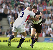 Twickenham. England. RFU Stadium, Surrey. <br /> Photo Peter Spurrier25/05/2003<br /> 2003 - Rugby - England v Barbarians.<br />  Captains meet Baa-baa Taine Randal [right] and Phil Vickery.         [Mandatory Credit: Peter SPURRIER/Intersport Images]