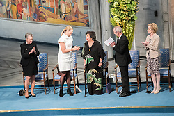 """10 December 2017, Oslo, Norway: Oslo City Hall hosts the Nobel Peace Prize award ceremony on 9-10 December 2017. The prize in 2017 goes to the International Campaign to Abolish Nuclear Weapons (ICAN), for """"its work to draw attention to the catastrophic humanitarian consequences of any use of nuclear weapons and for its ground-breaking efforts to achieve a treaty-based prohibition of such weapons"""". Here, ICAN Campaign executive director Beatrica Fihn rejoices with ICAN representative and Hiroshima survivor Setsuko Thurlow."""