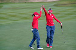 Solheim Cup 2019 at Centenary Course at Gleneagles in Scotland, UK. Brittany Altomare (l) and Nelly Korda of USA celebrate winning 18th hole during the Friday Afternoon Fourballs.