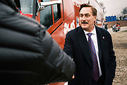 """06 DECEMBER 2020 - DES MOINES, IOWA: MIKE LINDELL, founder of My Pillow and supporter of President Donald Trump, talks to people at a rally against the outcome of the US election. Lindell is frequent Trump surrogate and is considering a run for the Governor of Minnesota. About 1,000 supporters of outgoing US President Donald Trump rallied in Des Moines Sunday to show their support for the President and to protest the outcome of the US Presidential election. They started with a rally in the suburbs of Des Moines then drove in a motorcade through the city, ending at the State Capitol. They repeated many of Trump's discredited claims that the election was marked by fraud and that Trump actually won. The protest was a part of the national """"March for Trump"""" effort, culminating in a march in Washington DC on December 13. Joe Biden won the election, with 306 electoral votes to Trump's 232.       PHOTO BY JACK KURTZ"""