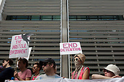 Anti-Deportation protesters Reclaim the Power protest against Human Rights in UK immigration detention centres, outside the Home Office on Marsham Street, on 29th July 2019, in London, England. The All African Womens Group highlighted the plight of asylum seekers in the Home Offices detention centres, and in particular, at Yarlswood.