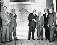 1956 Samuel Goldwyn, Jesse Lasky, C. DeMille, Adolph Zukor, Leo Carrillo and Y. Frank Freeman at Paramount Studios