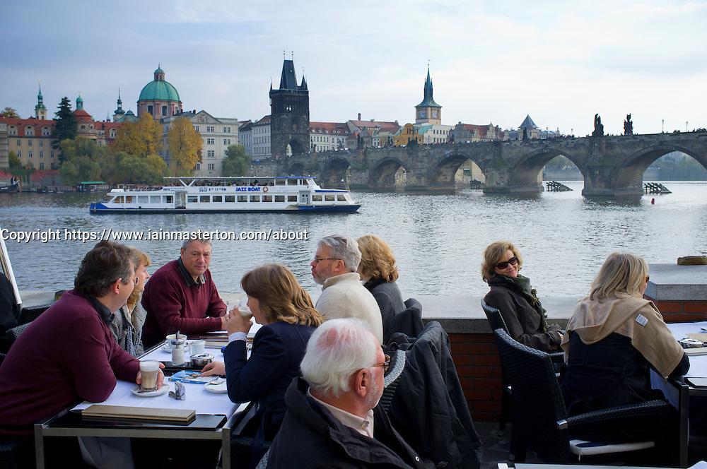 Cafe beside River Vltava in Prague in Czech Republic