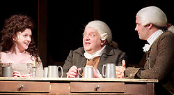 Mr Foote's Other Leg <br /> by Ian Kelly <br /> at Theatre Royal Haymarket, London, Great Britain <br /> press photocall<br /> 30th October 2015 <br /> <br /> <br /> <br /> Dervla Kirwan as Peg Woffington <br /> Simon Russell Beale as Samuel Foote<br /> Joseph Millson as David Garrick <br /> <br /> <br /> <br /> Photograph by Elliott Franks <br /> Image licensed to Elliott Franks Photography Services