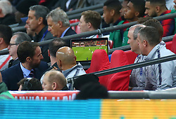 November 15, 2018 - London, United Kingdom - England's Manager Gareth Southgate  looking at TV Monitor.during the friendly soccer match between England and USA at the Wembley Stadium in London, England, on 15 November 2018. (Credit Image: © Action Foto Sport/NurPhoto via ZUMA Press)