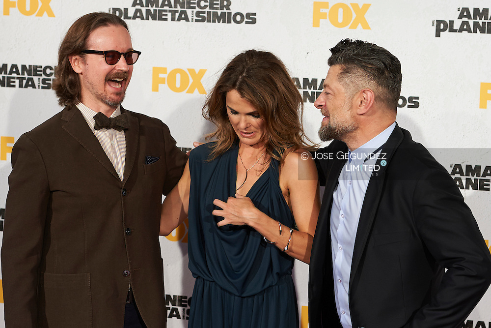 Director Matt Reeves, Actress Keri Russell and Actor Andy Serkis attend the 'Dawn Of The Planets Of The Apes' premiere at Capitol Cinema on July 16, 2014 in Madrid
