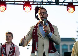 Oct 21, 2019; Sacramento, CA, USA; Matt Alvarez, an investor with the Sacramento Republic FC, greets the crowd during a fan celebration event for the new MLS soccer team at Capital Mall. Mandatory Credit: D. Ross Cameron-USA TODAY Sports