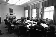 JFK Diary up for Auction<br /> <br /> After the end of the war in 1945, Ambassador Joseph Kennedy arranged for his 28-year-old son, Jack, to work for Hearst newspapers. This allowed the young veteran to attend the opening session of the United Nations in San Francisco in May and then travel abroad to cover post-war Europe during the Summer of 1945. <br /> <br /> JFK followed Prime Minister Churchill throughout England during his reelection campaign. He traveled to Ireland, France, then to the Potsdam Conference in Germany with Navy Secretary James Forrestal. He even viewed the charred remains of Hitler's bombed out bunker in Berlin and observed the Fuhrer's famed Berchtesgaden 'Eagle's Nest.'<br /> <br /> John F. Kennedy recorded his historic trip in a 61-page diary, documenting his personal observations of what he saw firsthand and perceptions of what would happen in the post-war world. This incredible manuscript reveals his insightful views and predictions of the world around him at an early age—a man who would, sixteen years later, become America's 35th President.<br /> <br /> Comprised of 61 loose-leaf pages, 12 handwritten and 49 typed, the diary is housed in a quality Trussell cowhide leather binder. <br /> <br /> Photo shows: Meeting of the Executive Committee of the National Security Council (EXCOMM). <br /> White House, Cabinet Room, 29 October 1962.  Clockwise from the President: President Kennedy, Robert McNamara, Roswell Gilpatric, General Maxwell Taylor, Paul Nitze, Donald Wilson, Ted Sorensen, McGeorge Bundy (hidden), Douglas Dillon, Vice President Lyndon Baines Johnson (hidden), Robert F. Kennedy, Llewellyn Thompson, William C. Foster, John McCone (hidden), George Ball, Dean Rusk. Photograph in the John F. Kennedy Presidential Library and Museum, Boston.<br /> ©rrauction/Exclusivepix Media