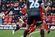 Tommy Rowe of Doncaster Rovers scores the first goal. EFL Skybet Football League two match, Leyton Orient v Doncaster Rovers at the Matchroom Stadium, Brisbane Road in Leyton, London on Saturday 18th March 2017.<br /> pic by Steffan Bowen, Andrew Orchard sports photography.