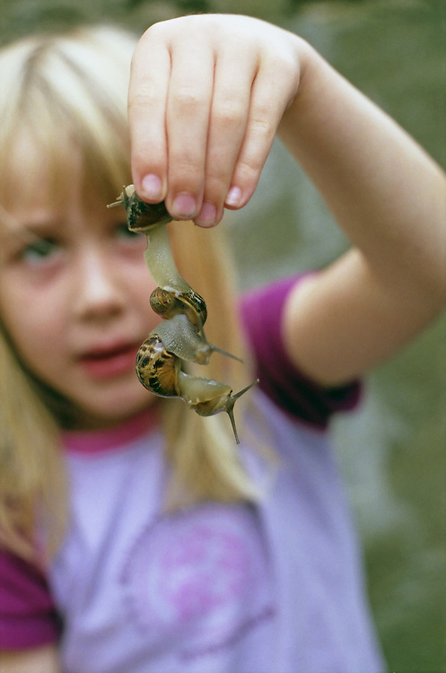 A young girl examines three garden snails joined together.