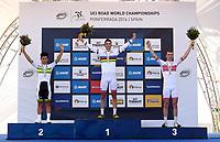 Sykkel<br /> UCI VM 2014<br /> Ponferrada Spania<br /> 26.09.2014<br /> Foto: PhotoNews/Digitalsport<br /> NORWAY ONLY<br /> <br /> Bystrøm Sven Erik of Norway - 2nd Ewan Caleb (AUS) - 3th Skjerping Kristoffer (NOR) pictured during the Men Under 23 Road Race of the UCI Road World Championships in Ponferrada, Spain.