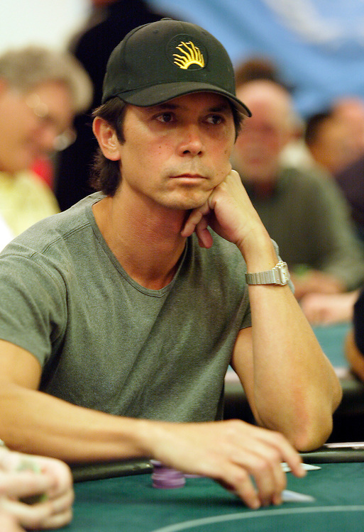 September 1, 2003: Actor Lou Diamond Phillips plays the World Poker Tour event at the Bicycle Club in Los Angeles.