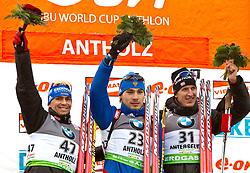 20.01.2011, Südtirol Arena, Antholz, ITA, IBU Biathlon Worldcup, Antholz, Sprint Men, im Bild podium zweiter Michael Greis (GER), Sieger Anton Shipulin (RUS) und dritter Lars Berger (NOR) // second Michael Greis (GER), Winner Anton Shipulin (RUS), third Lars Berger (NOR)during IBU Biathlon World Cup in Antholz, Italy, EXPA Pictures © 2011, PhotoCredit: EXPA/ J. Feichter